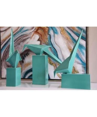 Pássaro Cerâmica Verde Esmeralda